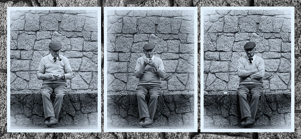 Triptych - Irishman and his pipe - BW with stone background
