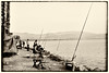 Fishermen on the shore of the Kinneret