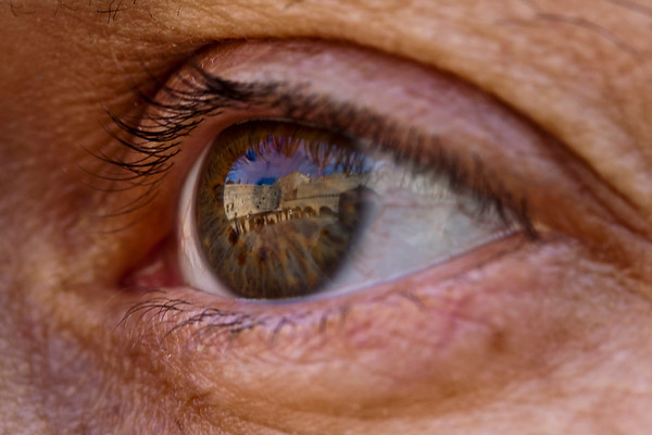 Reflection of Wailing Wall in Brown Eye