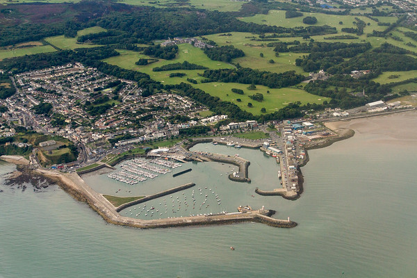 Irish port and fields from the air