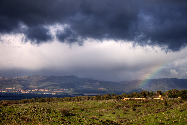 Rainbow over the Galil with Hatzor in background