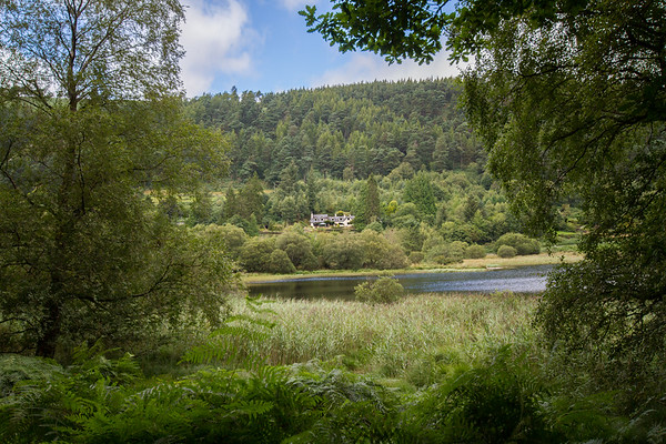 House in the Irish countryside across Glendalough lake - framed by trees
