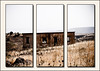 War-torn building in triptych