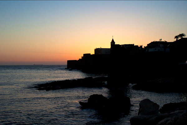 Sunset over ancient Akko port - further