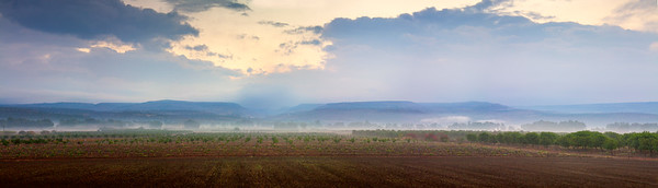 Cold misty morning in front of the Golan Heights - LAB color