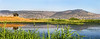Hula Valley Panorama mountains lake cabin reflection - tad smaller