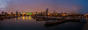 Panorama - Soldier Field stadium and Chicago Skyline over marina - warmer