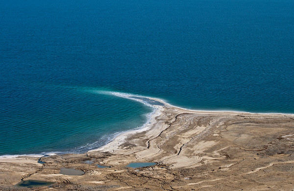 Shore line jutting into the Dead sea
