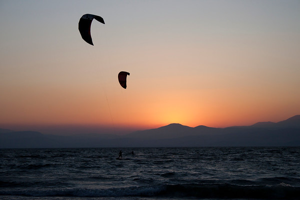 Kites over the Kinneret at sunset