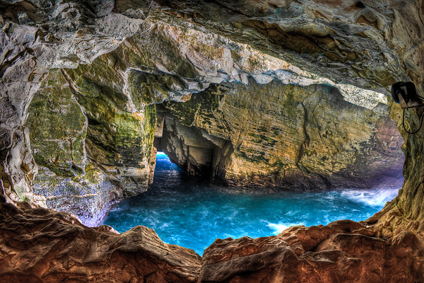 Rosh Hankira cave and water  -  vibrant
