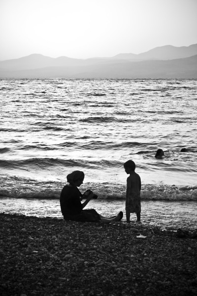 Mother and son on the beach - B-W