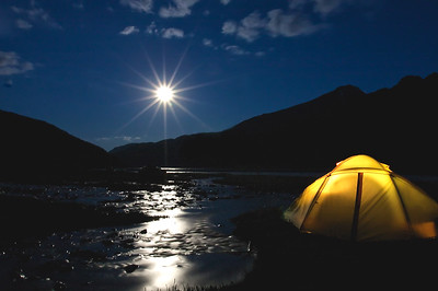 Midnight, Tsagann Gol (White River) Camp, NW Mongolia