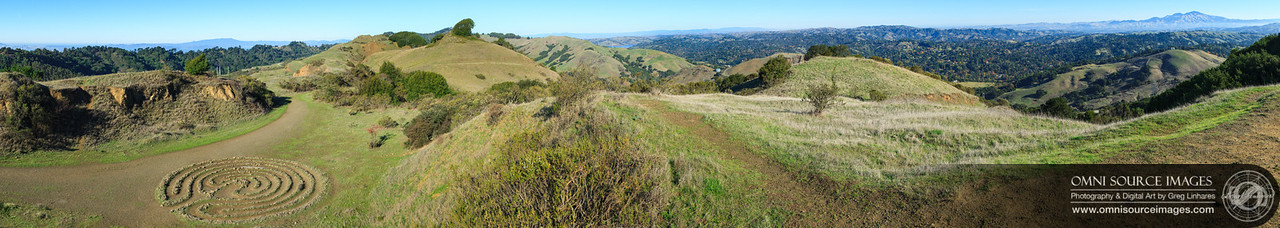 This 180° panorama (taken from Robert Sibley Volcanic Regional Preserve on Saturday, Nov. 24, 2012) is comprised of 28 vertical images stitched together using PTGui Pro software. While the original file used to create prints contains a total of 28,696 x 5107 pixels, it is difficult to see in this reduced copy, that the entire city of San Francisco is just over the hills beyond the labyrinth!