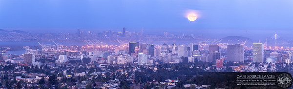 Full Moon Setting Over Oakland, CA (Super-HD Panorama). Seven vertical images digitally stitched for a total of 18,206 x 5581 pixels/300dpi. Sunday, March 16, 2014 at 6:58 AM.