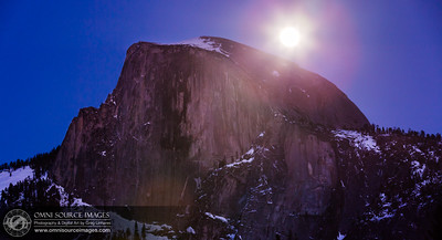 Waxing Full Moon Rises Over Half Dome at 27° tropical Leo on February 24, 2013 at 6:30 PM. Yosemite National Park. 6 second exposure at f/8, ISO 400, 140mm.