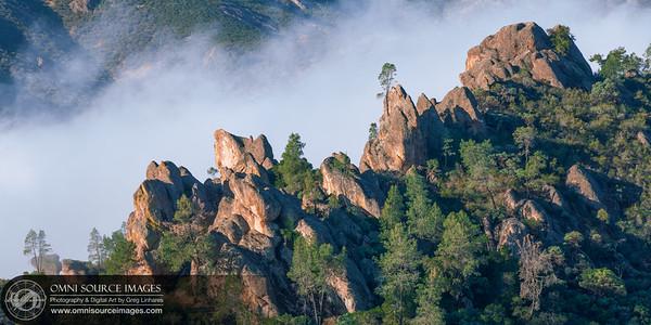 Morning Fog Drifting Through Bear Gulch - The Pinnacles National Park