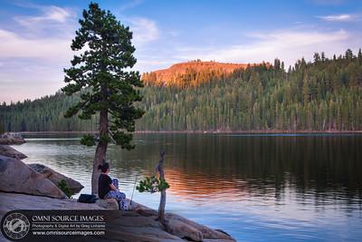 Lake Alpine Fishing at Sundown