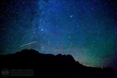 Perseid Meteor Shower Over Castle Crags - Shasta Trinity National Forest. August 11, 2015 at 11:19 PM.