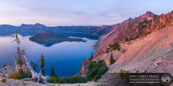 Crater Lake Sunrise - HD-Panorama (9,876 x4938 pixels/300dpi). Digitally stitched from five vertical exposures.