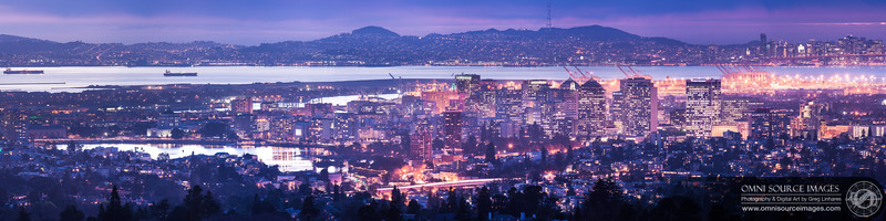 Downtown Oakland Twilight - Super HD Panorama (22,216 x 5554 pixels/300dpi). Created from eight vertical exposures digitally stitched and blended into one.