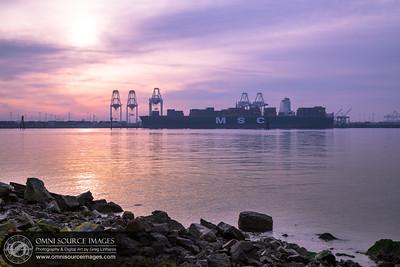 Port of Oakland Loading Cranes at Sunrise