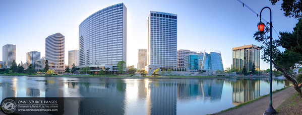Oakland-Lake Merritt Downtown Skyline. Super-HDR Panorama (12,679x4,840 pixels/300dpi). Digitally stitched into three blending planes from 18 vertical exposures (three at each position). Photomatix HDR Fusion and Lightroom developed.