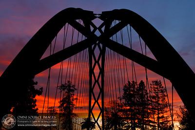 Bent Bridge at Sunset. Happy Hallow Park - San Jose, CA. December 31, 2011.