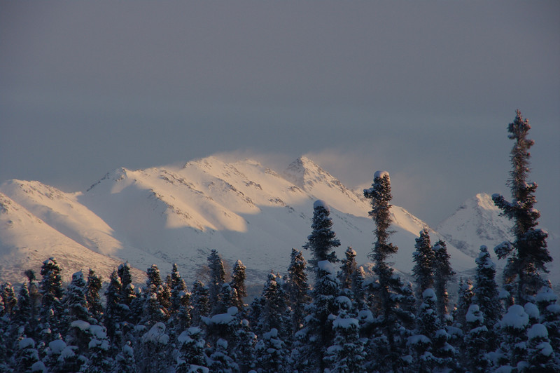Looking east at the Chugiak Mountain on New Years Eve.