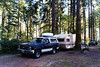 AT BEAVER BAY CAMPGROUND<br /> This is where we camped out for the night prior to visiting the park. Beaver Bay Campground is located in the little town of Cougar, Washington, where you'd get your permits for hiking up the mountain, should you choose to do so. That wasn't in the plans this time around, especially since we had our dog Clea with us.