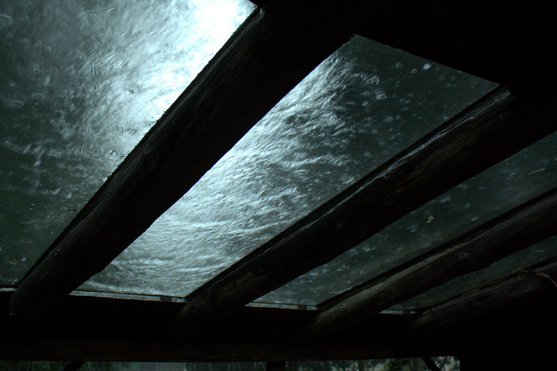 sheeting interrupted by rain drops