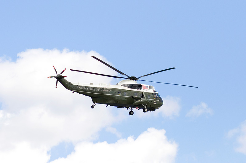 March 29, 2009 while rest at the FDR Memorial we saw two helicopters fly in from the end of the mall toward the Washington Monument.  This one landed at the White House.  Marine One??