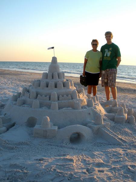 Vadis and John by Indian Rocks beach sand castle