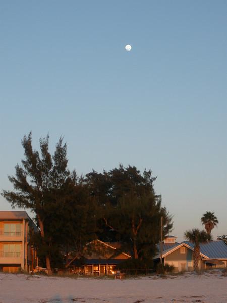 Moon over Indian Rocks beach houses