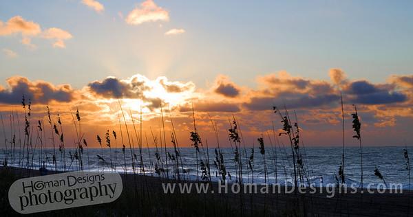 Oct 14: Sunrise over the Atlantic Ocean at Emerald Isle.
