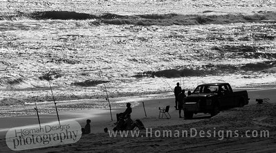 Many people were fishing during the week at Emerald Isle beach.