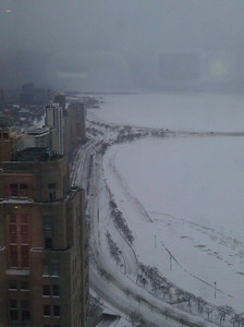 Lake Shore Drive looking north from the Hancock. Most of the cars have been cleared.
