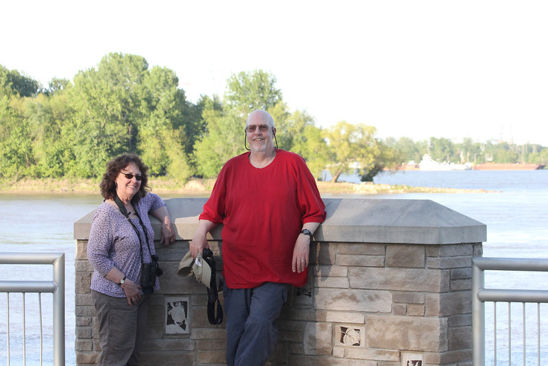 April 18, 2012 (Columbia Bottom Conservation Area [at Confluence Overlook] / Saint Louis County, Missouri) -- Connie & Ken at the Confluence of the Missouri & Mississippi Rivers