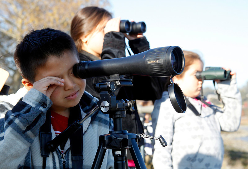 Jeffrey Mazariegos, 7,left, of San Rafael, a 2nd grade student at Bahia Vista Elementary School looks through a scope at the shorebirds off of Pickleweed Park for the Winter Youth Bird Count, in San Rafael, Calif. on Saturday, January 14,  2012.Mitzy Mazariegos, 11, a 5th grader at Bahia Vista and Jeffrey's sister, center, and Samantha Diaz, 9, a 4th grader at Bahia Vista use binoculars to get a better look at a Cormorant sunning on a piling. (Special to the IJ/Jocelyn Knight)