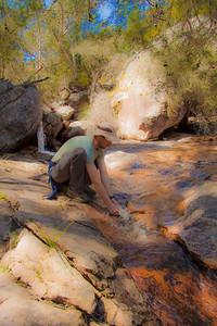 Art shot of James and waterfall
