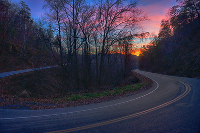 """tail of the Dragon"" US 129 just inside North Carolina at sunset"