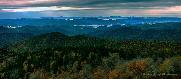 Cowee Overlook, Haywood County...  Sunrays and raindrops on the horizon