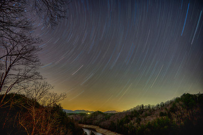 Starry Night over the Nantahala River - One hour exposure