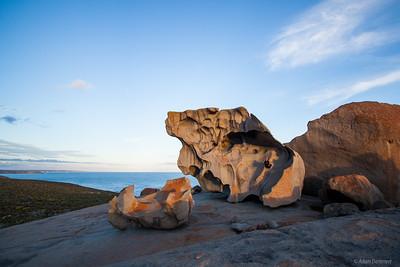 Cath enjoying Sunset at Remarkable Rocks