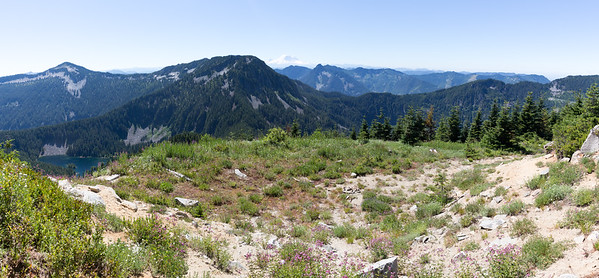 Quick panorama from the top, including Thompson Lake on the left. Then time to go before the mosquitos eat me alive.