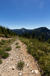 Starting my way back down the trail. Facing toward Mount Defiance and Web Mountain in the distance.