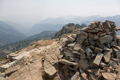 Tent-sized cairn, plus the summit log at the top. Summit log wasn't in great shape - looked like someone chewed on it.