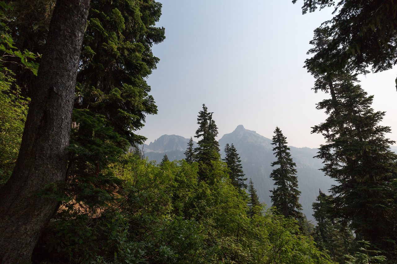 Hibox Mountain, plus the first really good view of the smoke for the day.