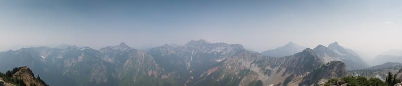 Roughly 180-degree panorama from the north side of Alta summit, covering roughly 270-90 degrees, left to right.