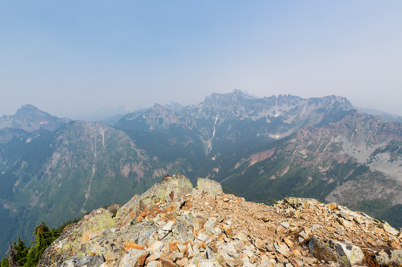 North end of the summit, looking north. Alaska Mountain and Mount Thomson are in the left side of the frame.