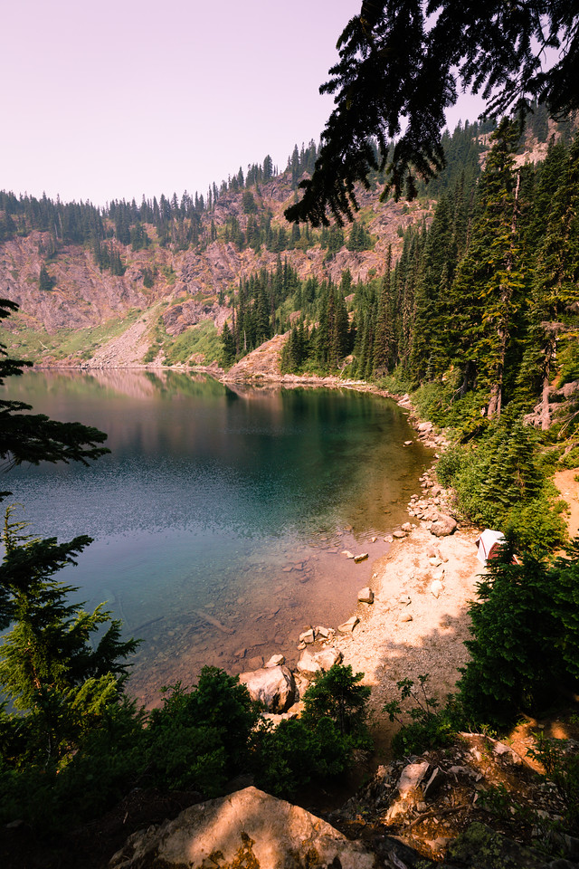 Northeast corner of Rachel Lake, before heading on toward Rampart Lakes